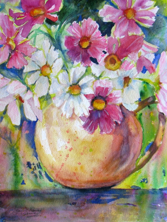 abstract flower cosmos original watercolor painting contemporary still life floral pink white flowers fine art 11 x 14
