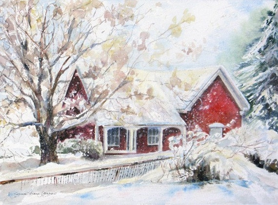 winter snow art print, snow watercolor, giclee print, red cottage winter painting, wall decor,  8 x 10  winter art, Janice Trane Jones