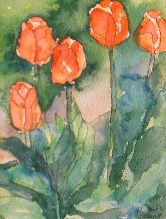 impressionism small Original watercolor painting abstract tulip flowers garden landscape floral 5 x 7