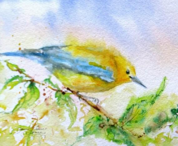 small bird Original watercolor painting warbler impressionism songbird garden bird landscape fine art 5 x 7