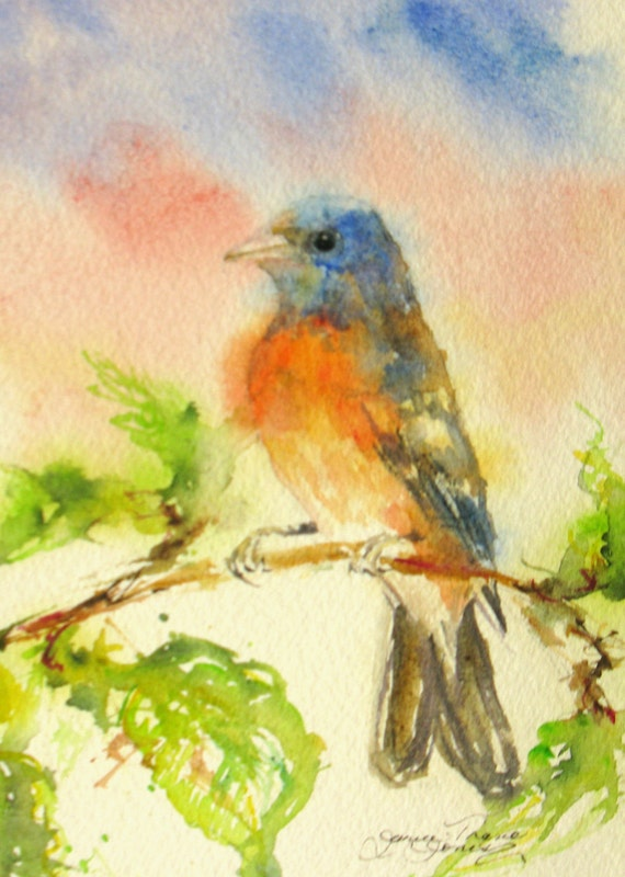 RESERVED for Iren Small Original bunting bird watercolor painting impressionism garden landscape fine art 5 x 7