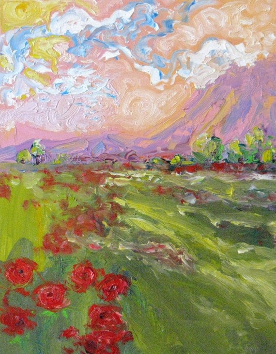Large abstract poppy original oil painting impasto landscape canvas impressionism palette knife red flowers contemporary 16 x 20