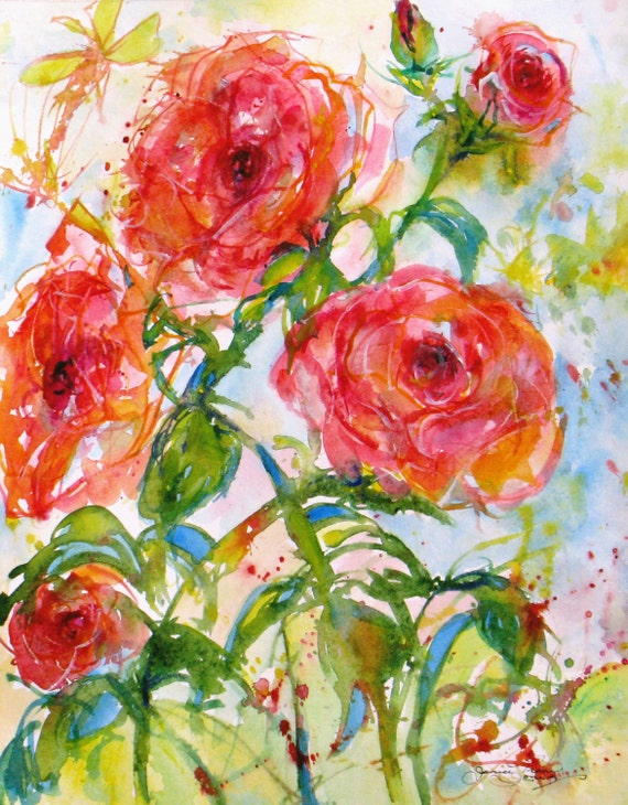abstract Rose original watercolor painting contemporary flower garden landscape floral spring fine art 16 x 20 frame ready