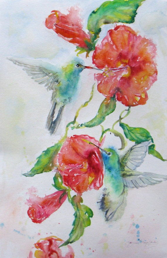 large hummingbirds hibiscus original watercolor painting birds flight flowers garden impressioniism 18 x 24 frame ready