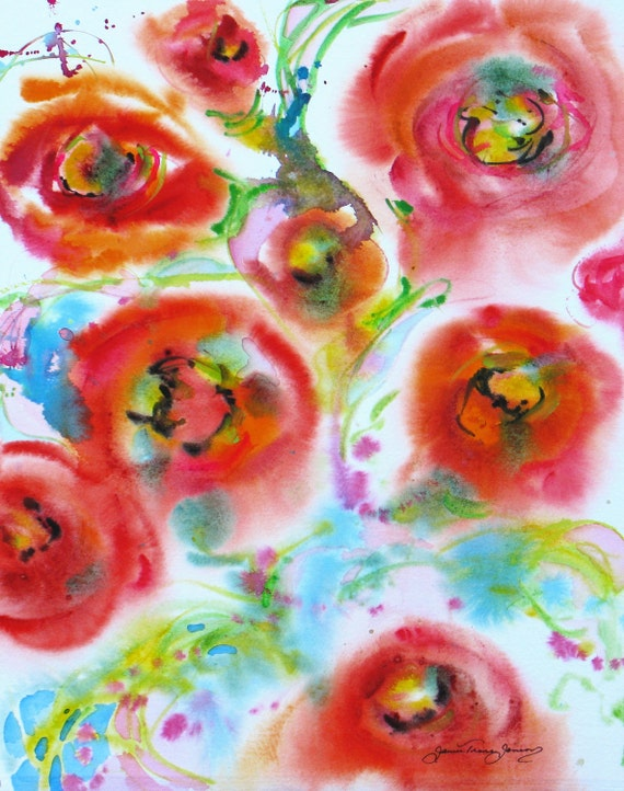 abstract poppy original watercolor painting contemporary garden flower landscape 16 x 20 frame ready