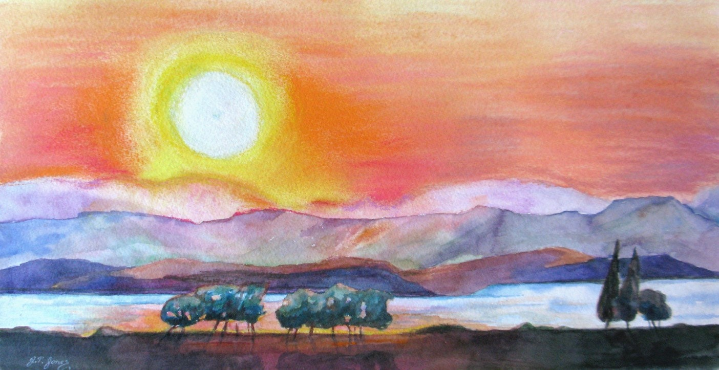 Large Sunset Summer Original Watercolor Pastel Painting