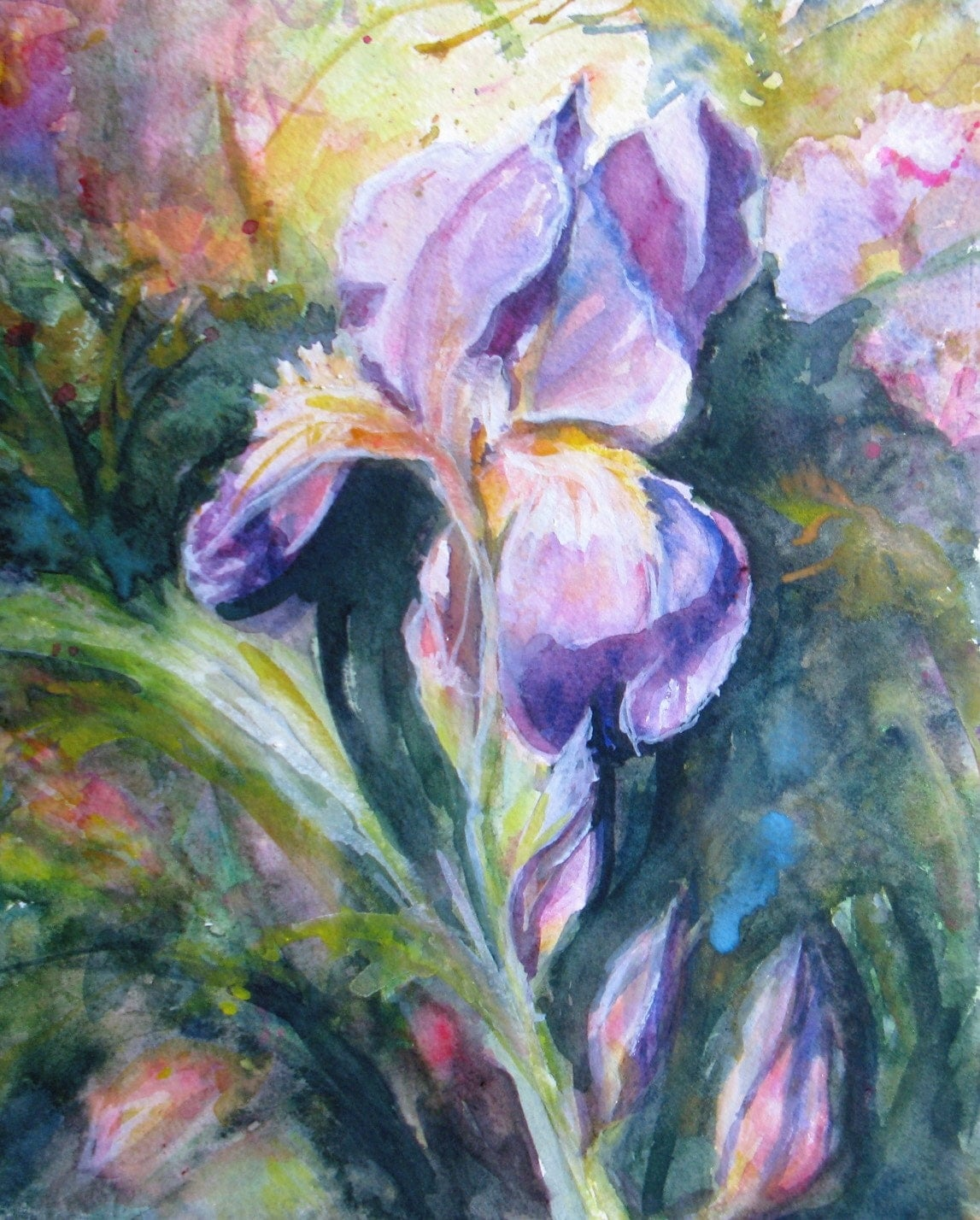 abstract iris Original Watercolor painting flowers garden