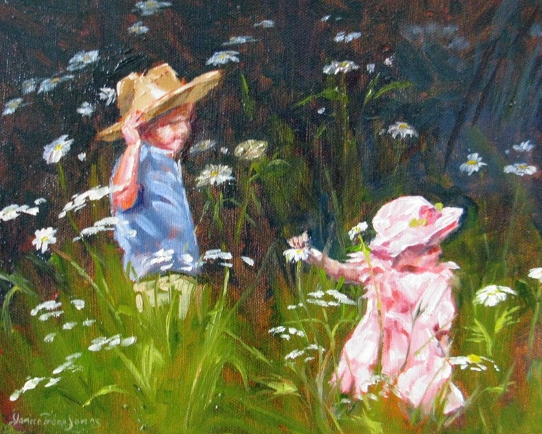 Original Oil Painting Impressionism Children By