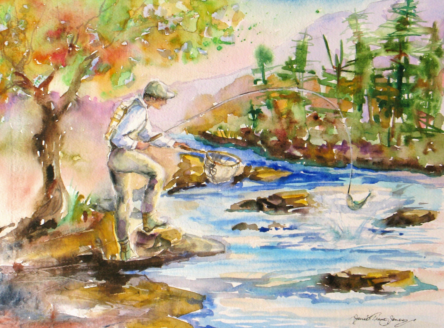 Fishing original watercolor painting river stream fly fishing for Fish and stream