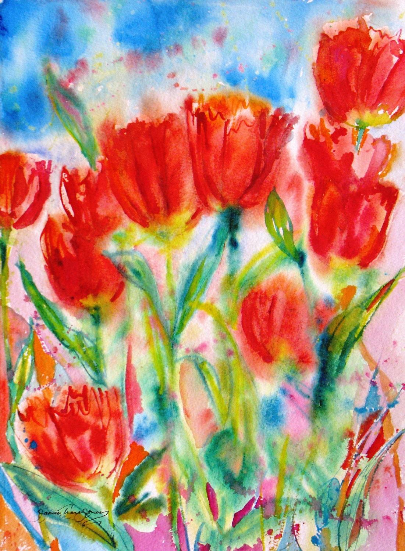 Red tulip abstract original watercolor painting spring flower for Spring flowers watercolor