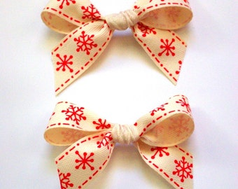 Retro Red Snowflake Hair Bows