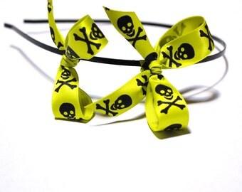Fluorescent Green Jolly Roger Double Bow Headband