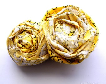 Yellow Bandana Fabric Rosette Hair Clip