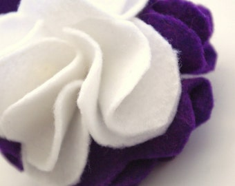 Purple and White Felt Dog Collar Detachable Flower Accessory