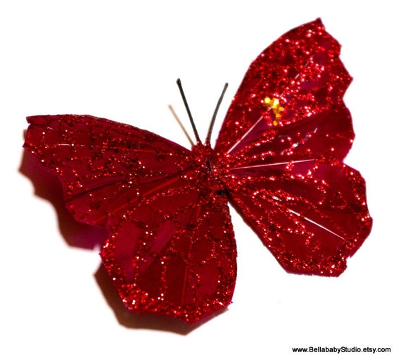 Red Glittered Feather Butterfly Hair Clip