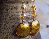Upcycled Gold Foil Glass Vintage Earrings