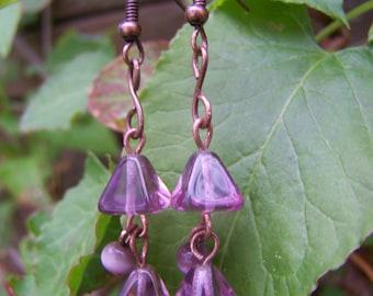 Purple Glass Copper Dangle Earrings