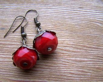 Vintage Inspired Red Velvet Crystal Earrings