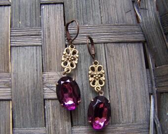 Romantic Vintage Purple Glass Dangle Earrings