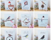 Garden Bird Greeting Cards: Set of Nine