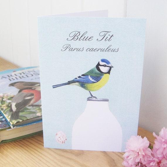 Garden Bird Greeting Card: Blue Tit, Blackbird, Long-tailed Tit, Goldfinch