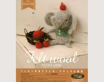 DIY handmade felt wool Elephant with Apples kit package