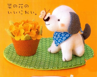 Kimono Art. Puppy and the Butterfly - Japanese Craft Kit