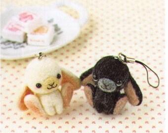 DIY handmade felt wool White and Black Sheep Charm Japanese kit package