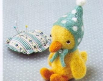 DIY handmade felt wool Little Blue Hood Duck Doll Japanese kit package