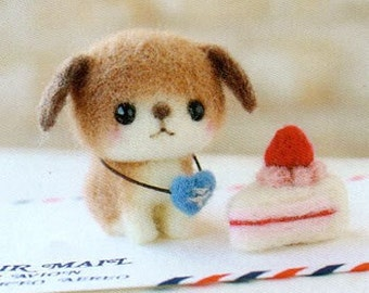 DIY handmade Japanese Felt Wool Friend Kit Package - Cream Tart Kitty and Cake Doggie to choose from