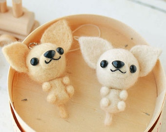 DIY handmade Japanese Felt Wool Dogs in Pair Package (3 dogs to choose from)