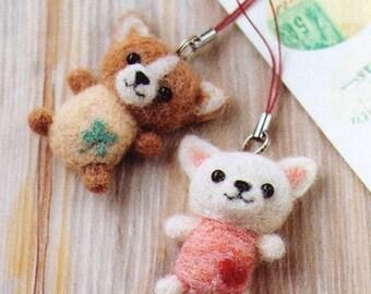 DIY handmade felt wool Dog Charm Japanese kit package