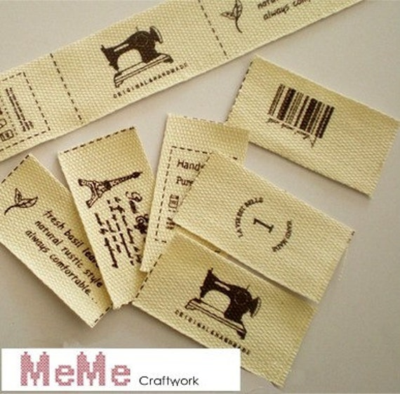 Cotton Sewing Tag Set of 6 - Eiffel, sewing machine and sapling