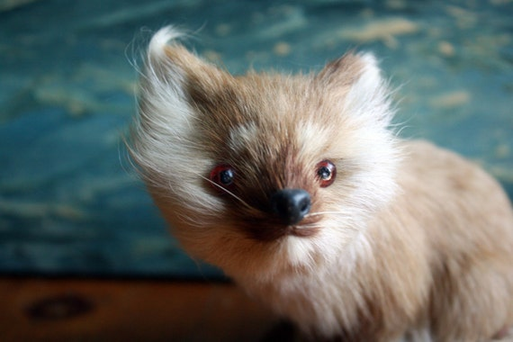 Vintage Fox Figurine made with real fur