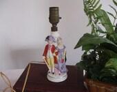 Lamp Ceramic Porcelain Vintage Couple Shabby Cottage Chic Marked Electric Vintage