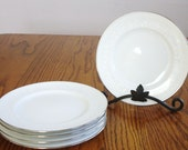 Noritake China Plate  Ireland Bread Butter Sm Dessert Plate Set of 5 Embossed Floral Silver Rim