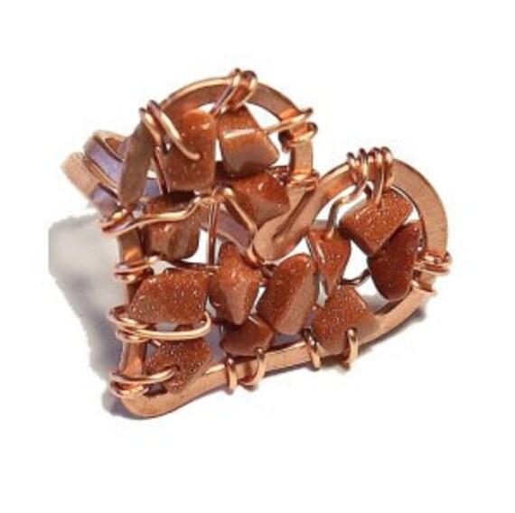 Goldstone Heart Ring
