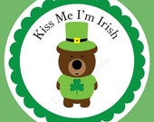 Printable St. Patricks Day Bear Kiss Me I'm Irish Custom Stickers, Labels, Gift Tags, Cards