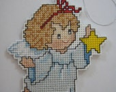 CROSS STITCHED ANGEL with star