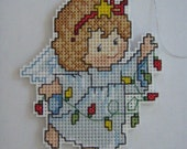 CROSS STITCHED ANGEL with lights