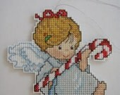 CROSS STITCHED ANGEL with candy cane