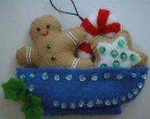 Felted GINGERBREAD BOY with CANDY Cane  and Star in a Boat Christmas Ornament