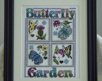 Needlecraft, Cross Stitch, Butterfly Garden Picture Completed and Framed