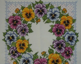 Needlecraft Cross Stitched PANSY WREATH