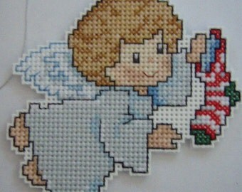 CROSS STITCHED ANGEL with stockng