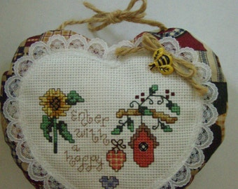 Needlecraft Cross Stitched ENTER with a HAPPY HEART Puffy Heart