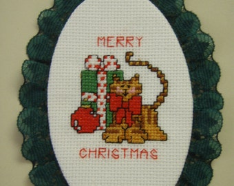 Cross Stitched  KITTY ORNAMENT