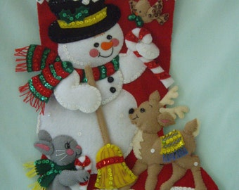 "BUCILLA Felted Kit Completed 18"" SNOWMAN STOCKING with his Woodland Friends"