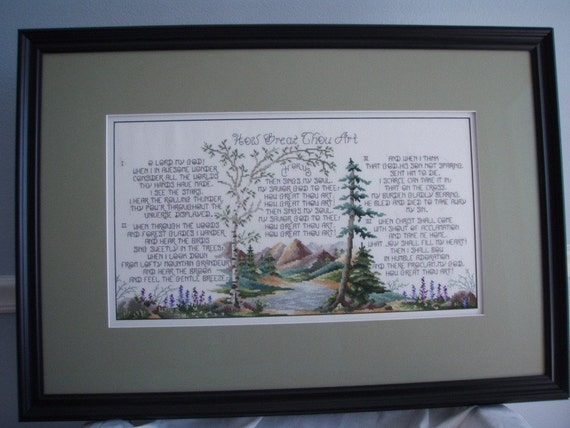 Reserved for Bannwater only     Needlecraft, Cross Stitch, How Great Thou Art, Picture Completed and Framed