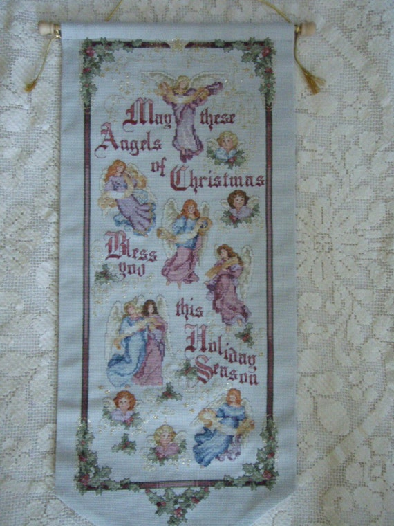 Cross Stitch Needlecraft Christmas ANGEL Bell Pull Completed with Rod